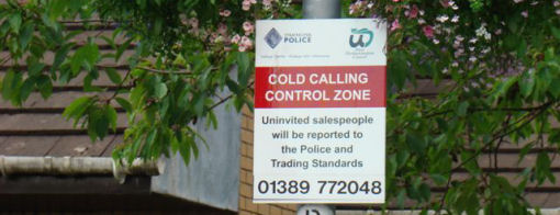 Cold calling control zone street sign