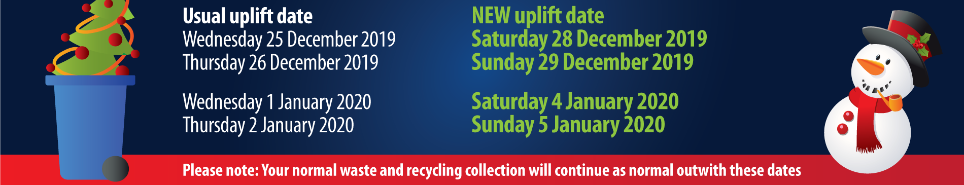 Christmas waste collections dates