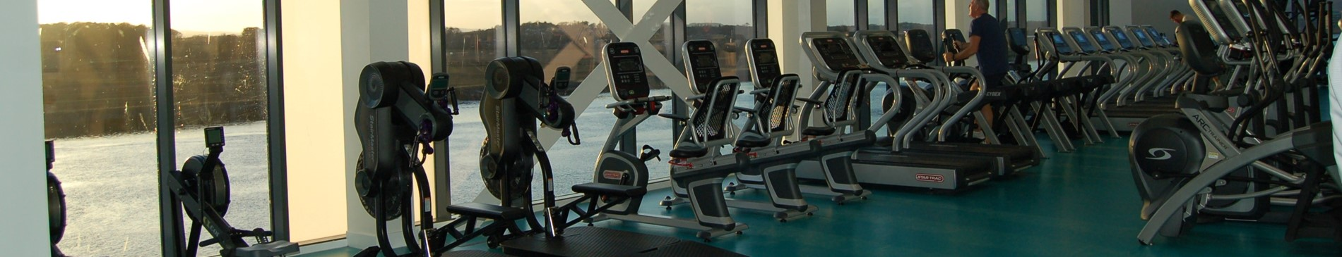 Gym equipment in the new Clydebank Gym - rowing machines, cross trainer, running machines