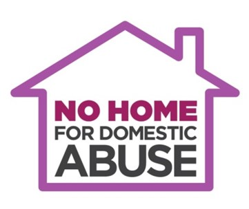 No Home for Domestic Abuse logo - this text written inside the outline of a house