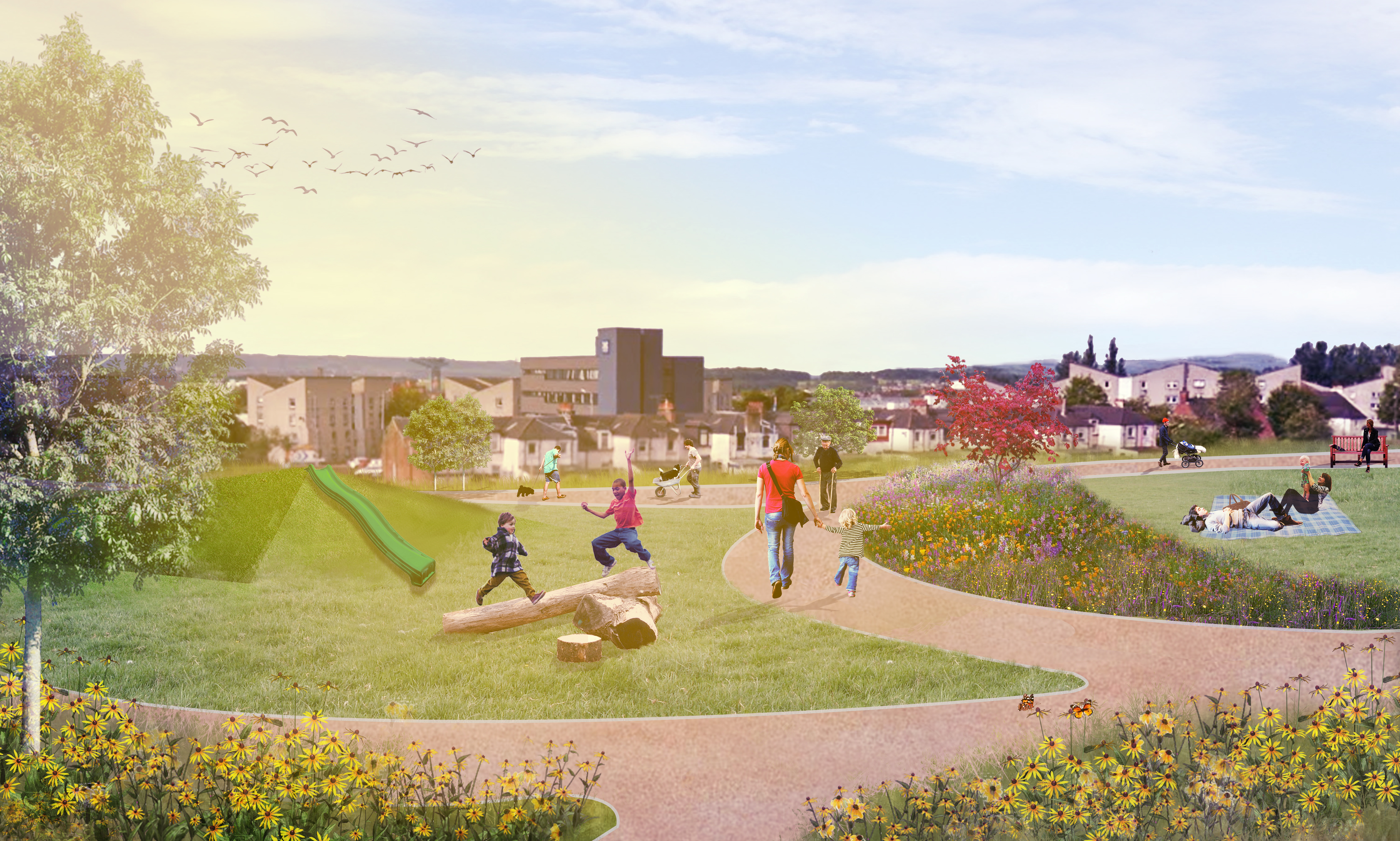 Melfort Park - Artist impression of new community green space being developed in Clydebank
