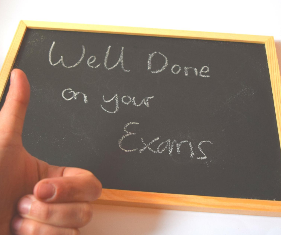 Image of a message saying well done on your exams