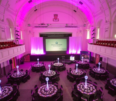 Image of the Grand Hall Set up for the business awards