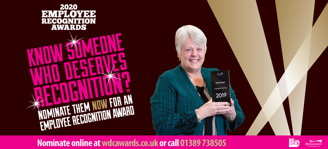 Employee Recognition Awards poster for 2020 - Nominate now for an employee recognition award