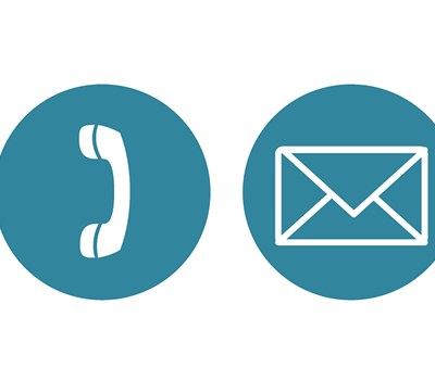 4 symbols - @ sign, telephone handle, envelope and a map point