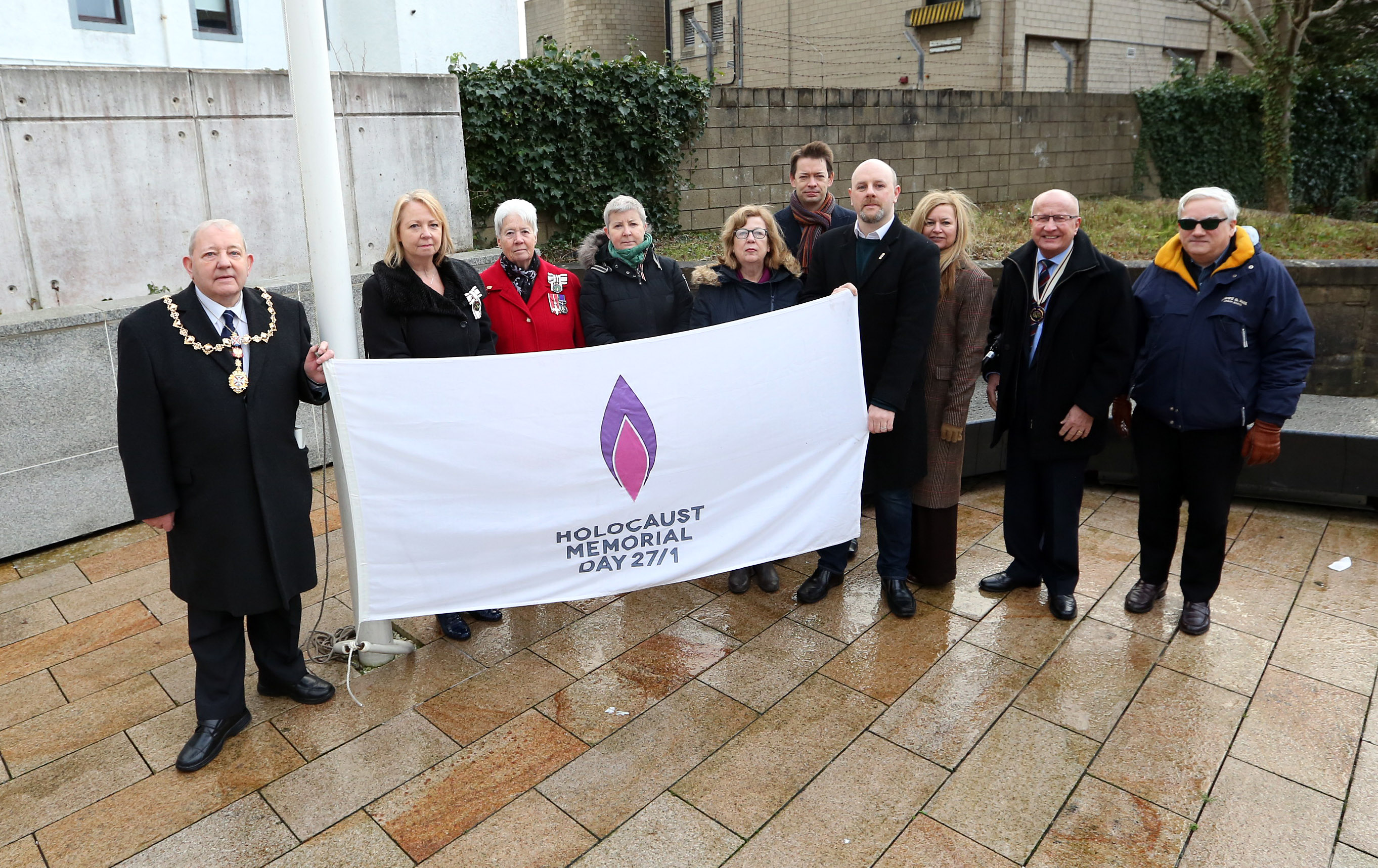 Holocaust Memorial Day flag (27 January) - Provost William Hendrie raised the Holocaust Memorial flag at Solidarity Plaza in Clydebank as part of a special ceremony on Monday